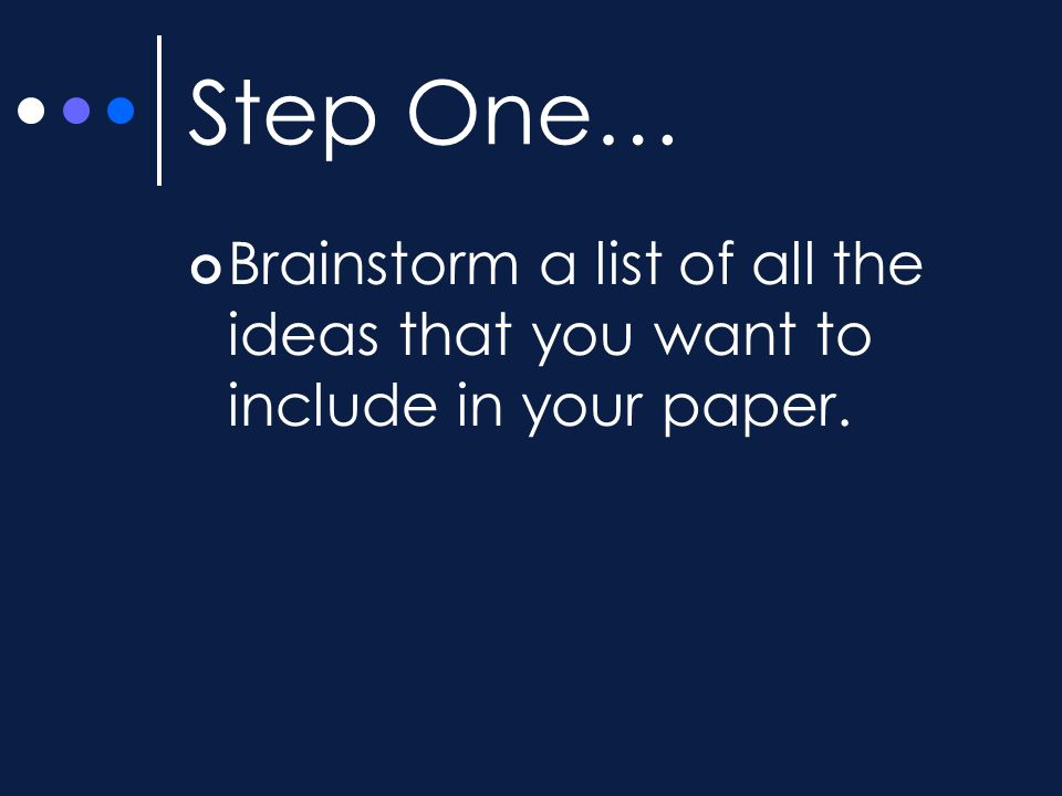 Step One… Brainstorm a list of all the ideas that you want to include in your paper.