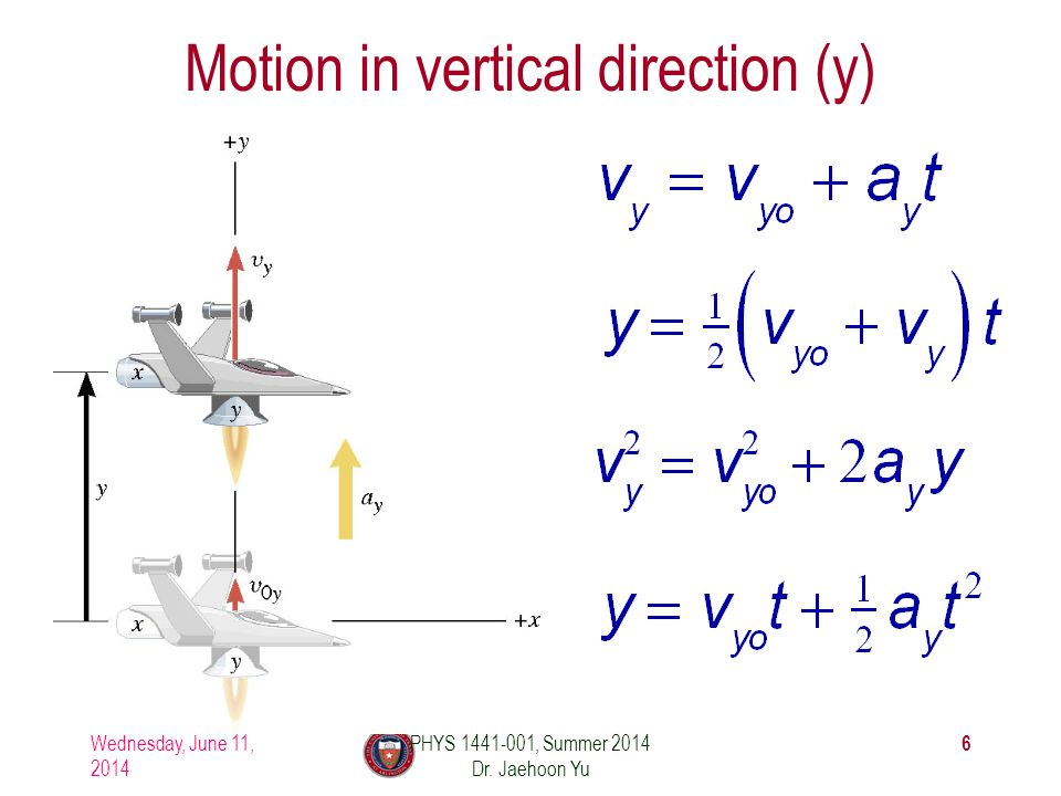 Motion in vertical direction (y)