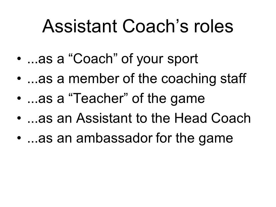 Assistant Coach's roles