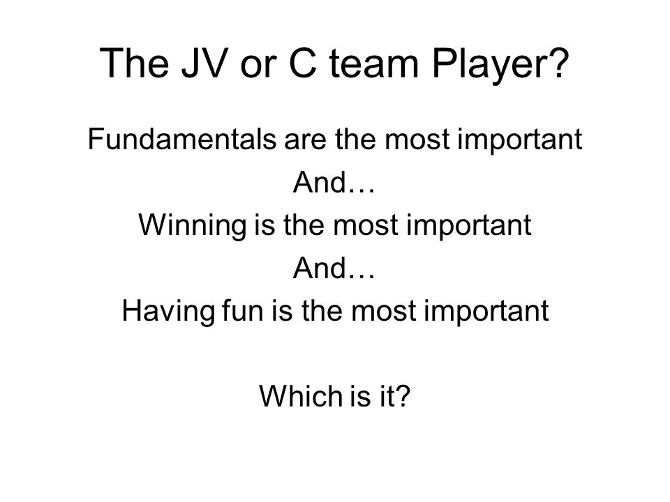 The JV or C team Player.