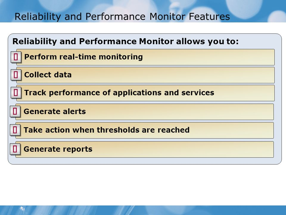 Reliability and Performance Monitor Features