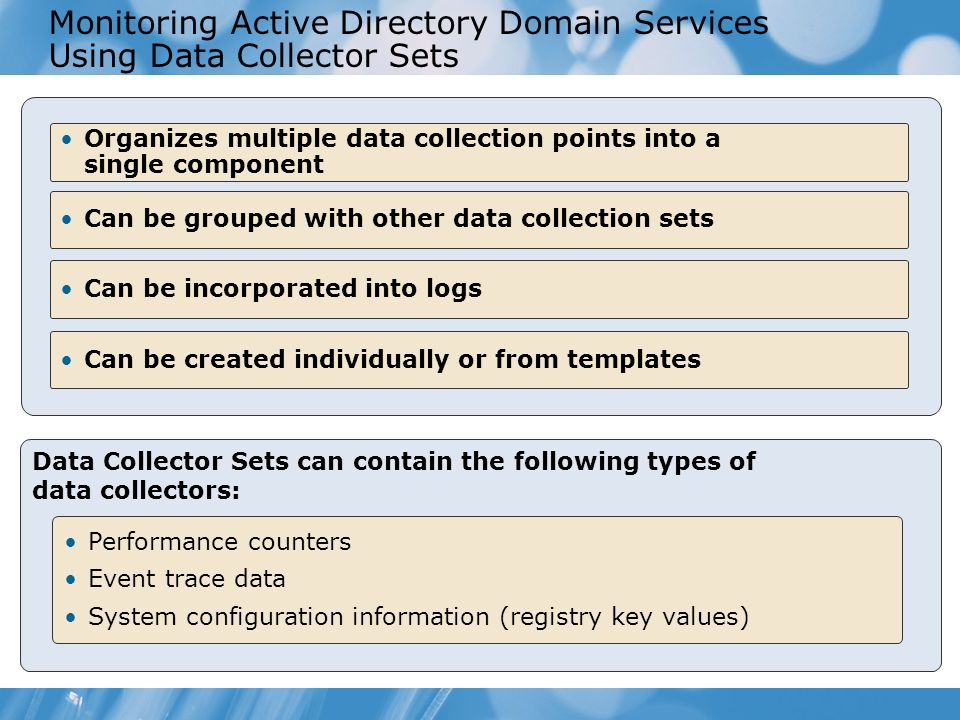 Monitoring Active Directory Domain Services Using Data Collector Sets