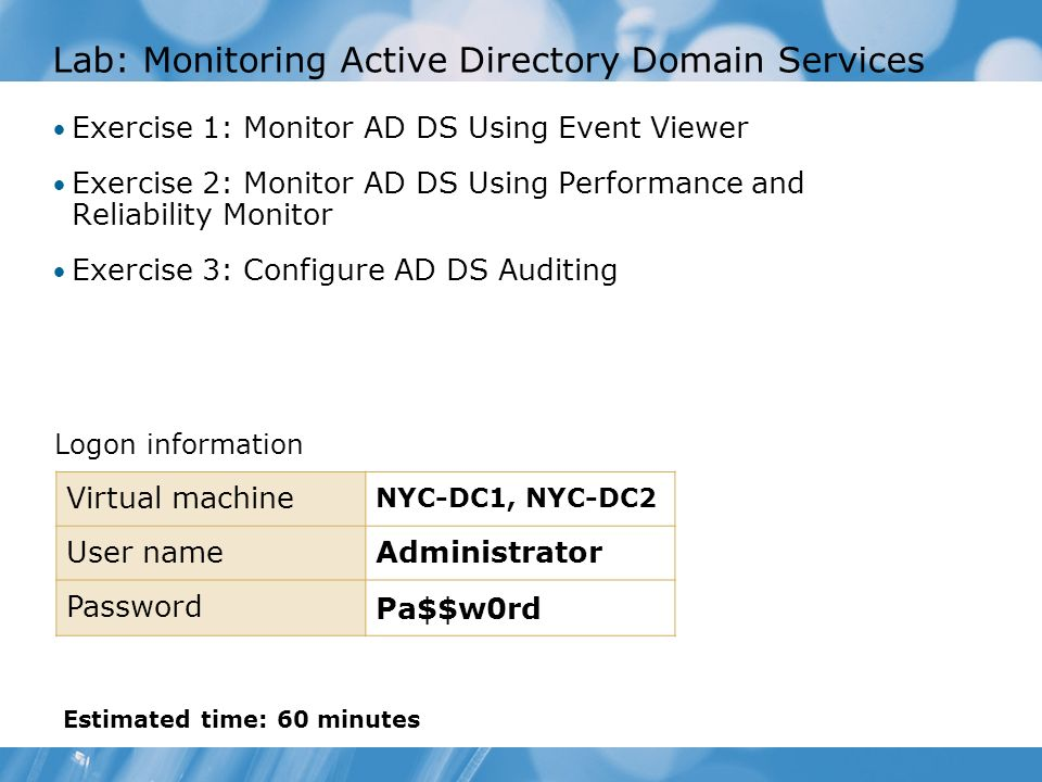 Lab: Monitoring Active Directory Domain Services