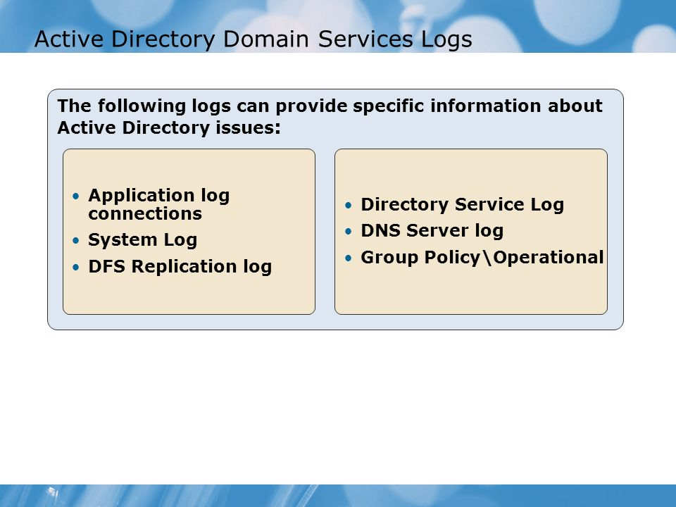Active Directory Domain Services Logs