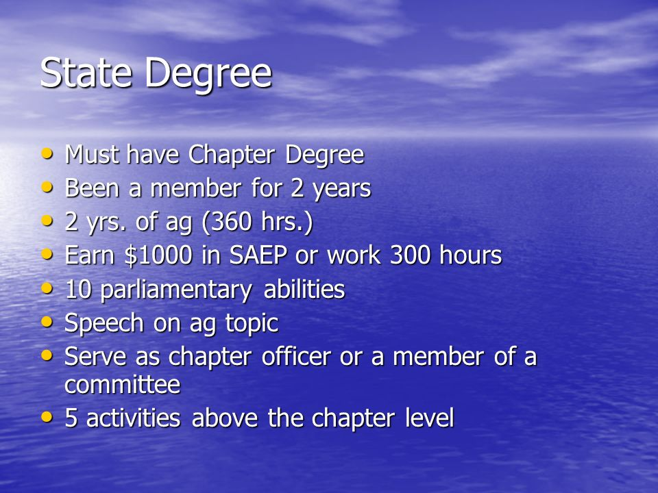 State Degree Must have Chapter Degree Been a member for 2 years