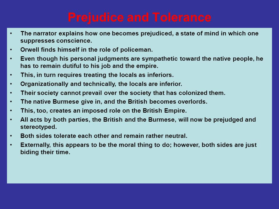 Prejudice and Tolerance