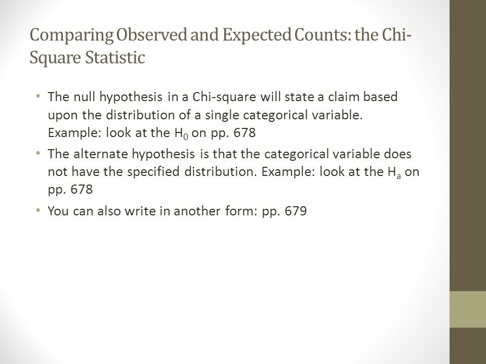 Comparing Observed and Expected Counts: the Chi-Square Statistic