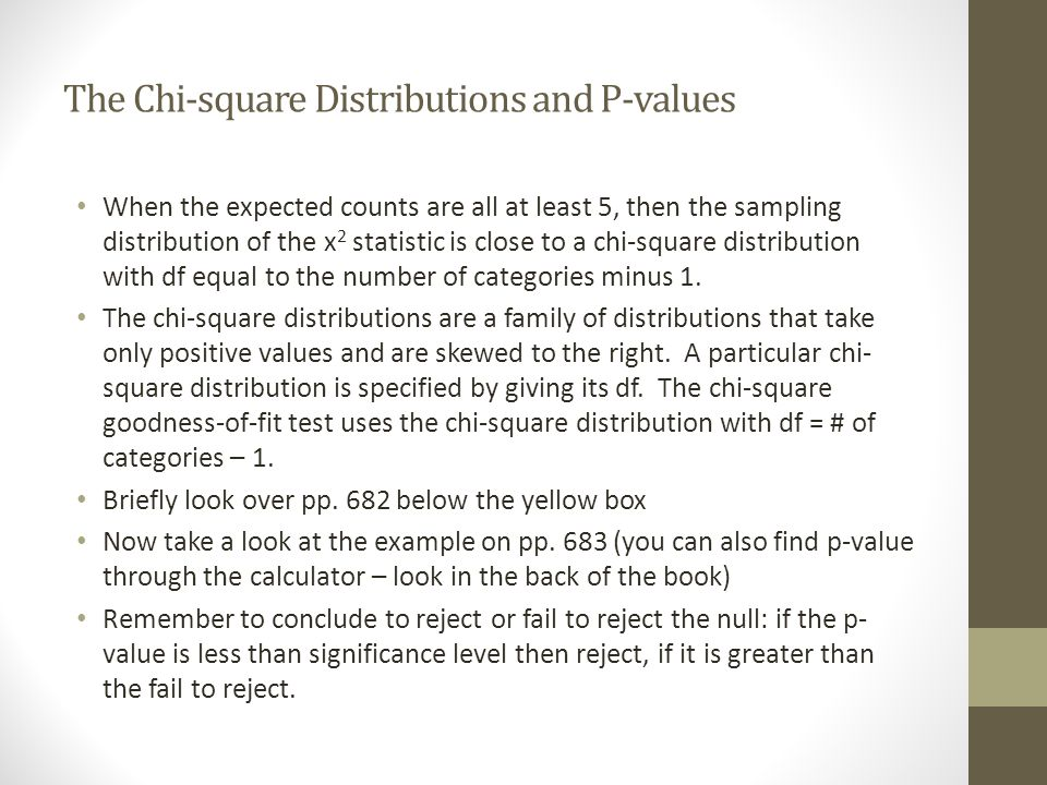 The Chi-square Distributions and P-values
