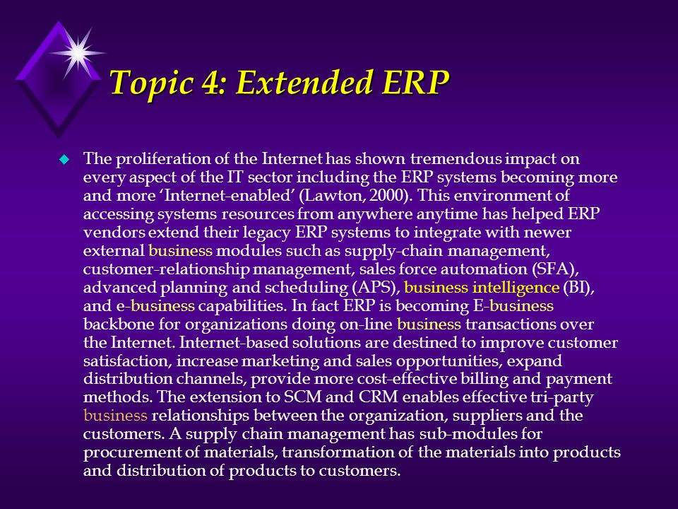 Topic 4: Extended ERP