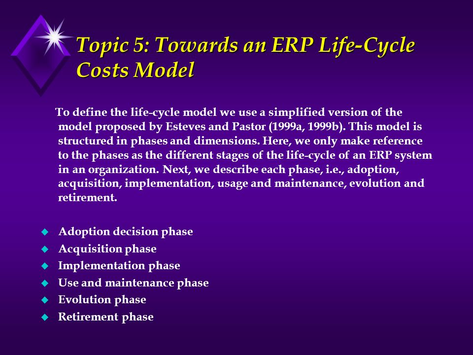 Topic 5: Towards an ERP Life-Cycle Costs Model