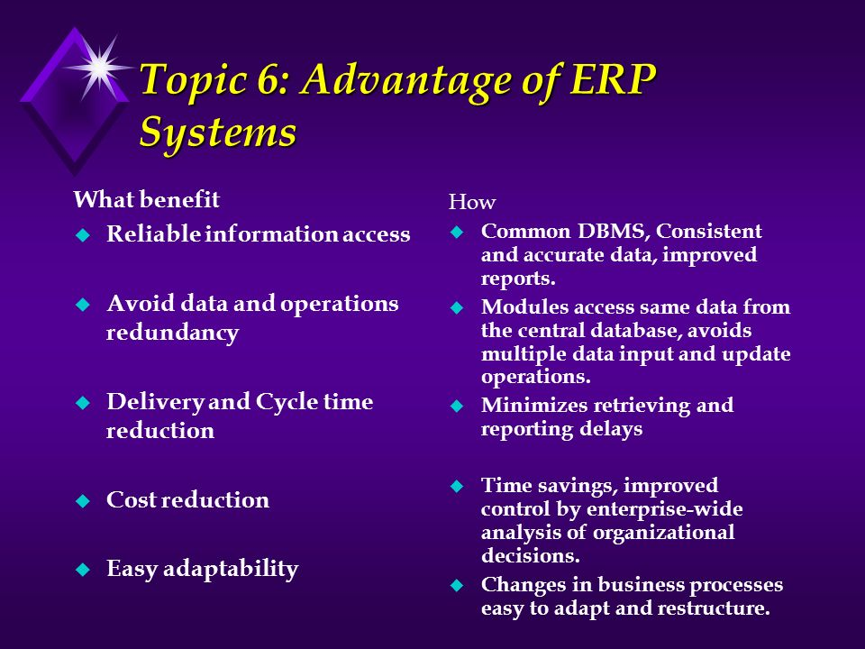 Topic 6: Advantage of ERP Systems