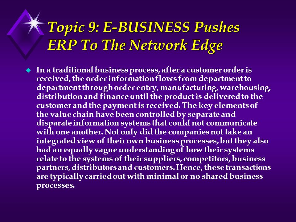 Topic 9: E-BUSINESS Pushes ERP To The Network Edge