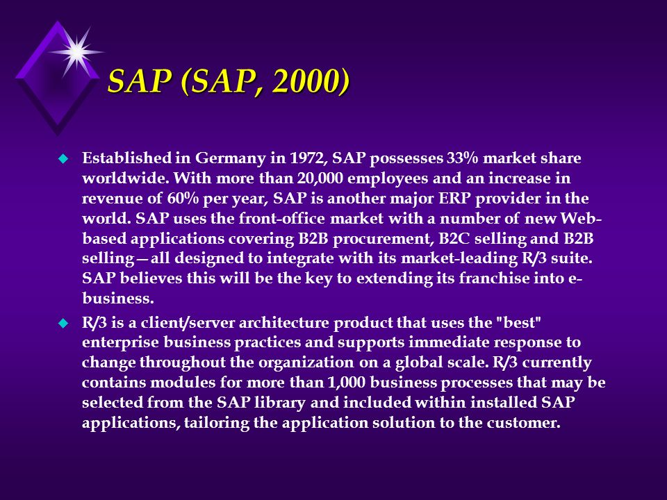 SAP (SAP, 2000)