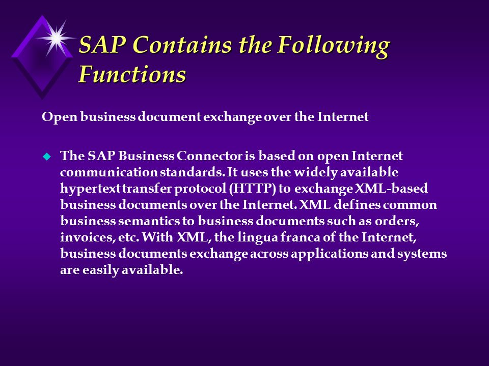 SAP Contains the Following Functions