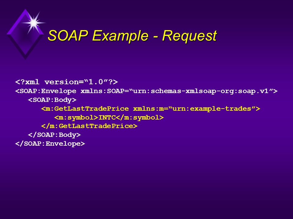 SOAP Example - Request < xml version= 1.0 >