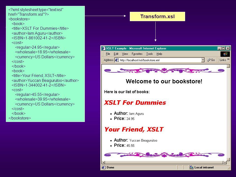 < xml:stylesheet type= text/xsl href= Transform.xsl >