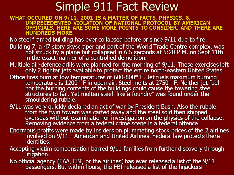 Simple 911 Fact Review