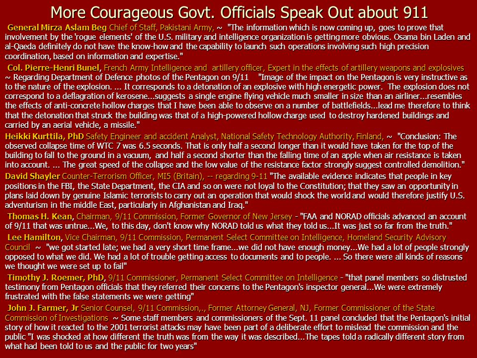 More Courageous Govt. Officials Speak Out about 911