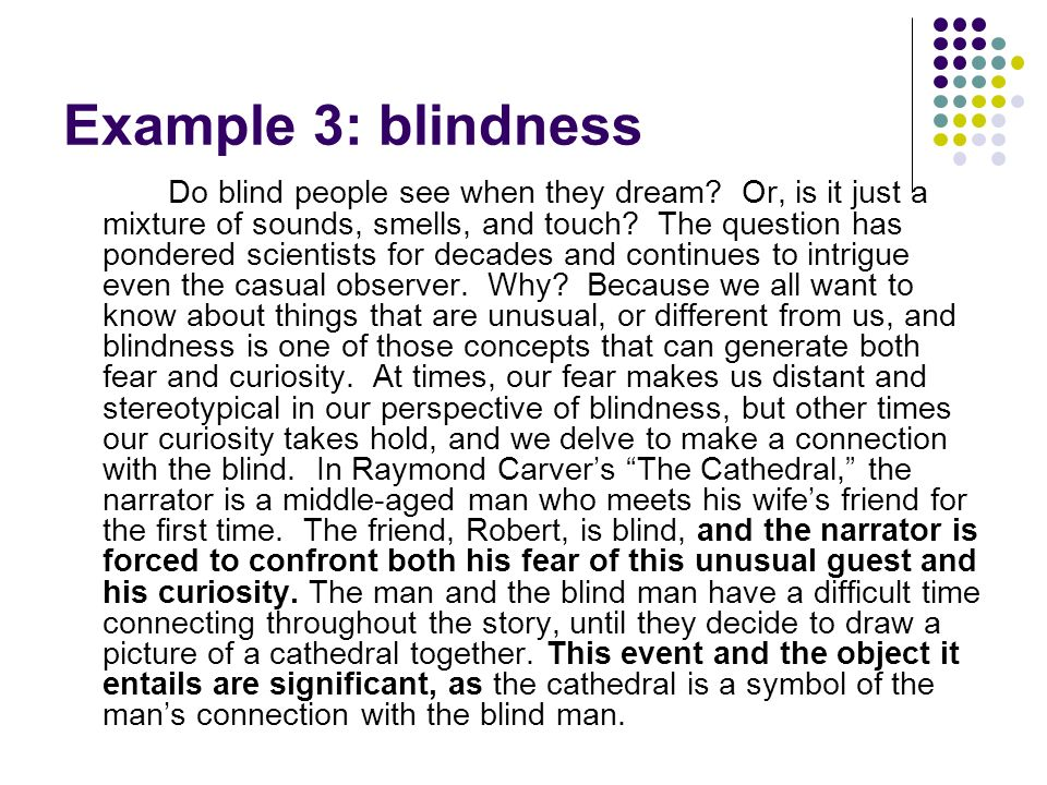 Example 3: blindness