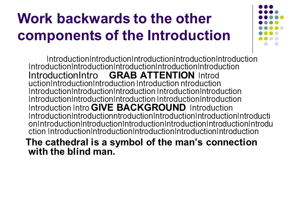 Work backwards to the other components of the Introduction