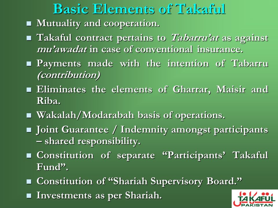 Basic Elements of Takaful
