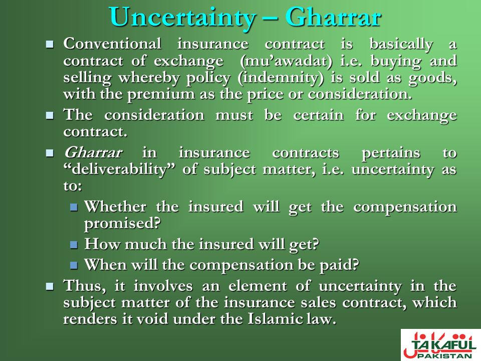 Uncertainty – Gharrar