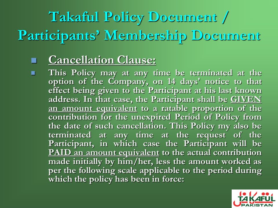 Takaful Policy Document / Participants' Membership Document