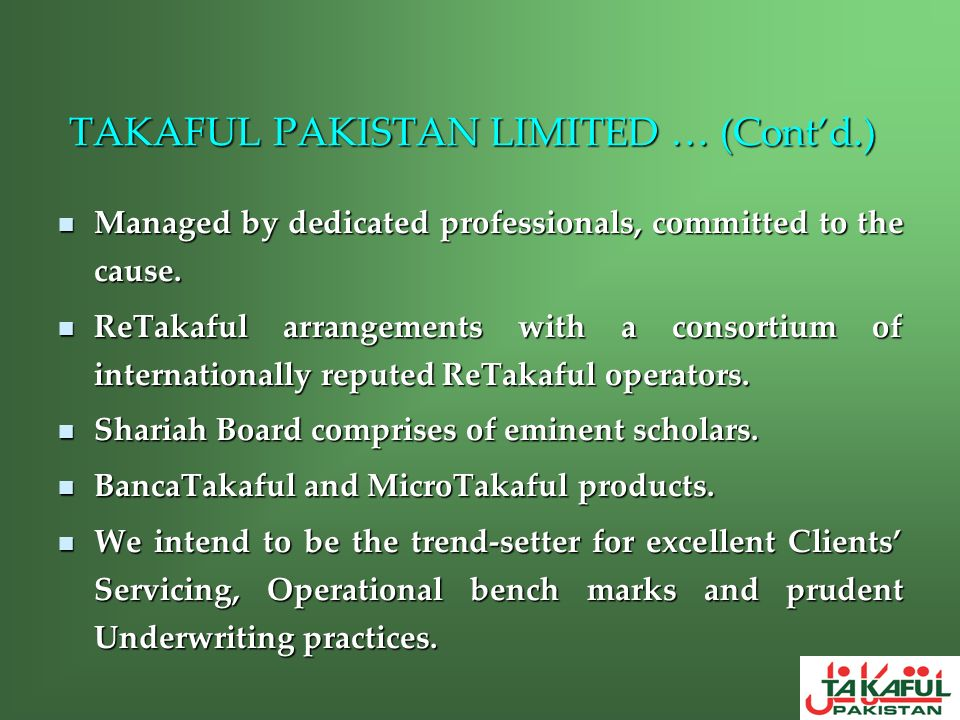 TAKAFUL PAKISTAN LIMITED … (Cont'd.)