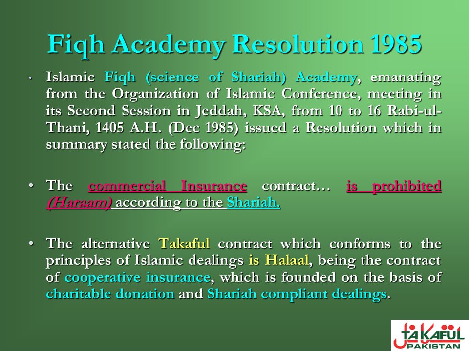 Fiqh Academy Resolution 1985