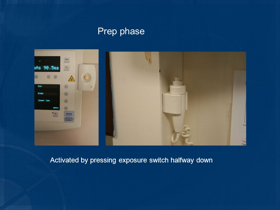 Prep phase Activated by pressing exposure switch halfway down
