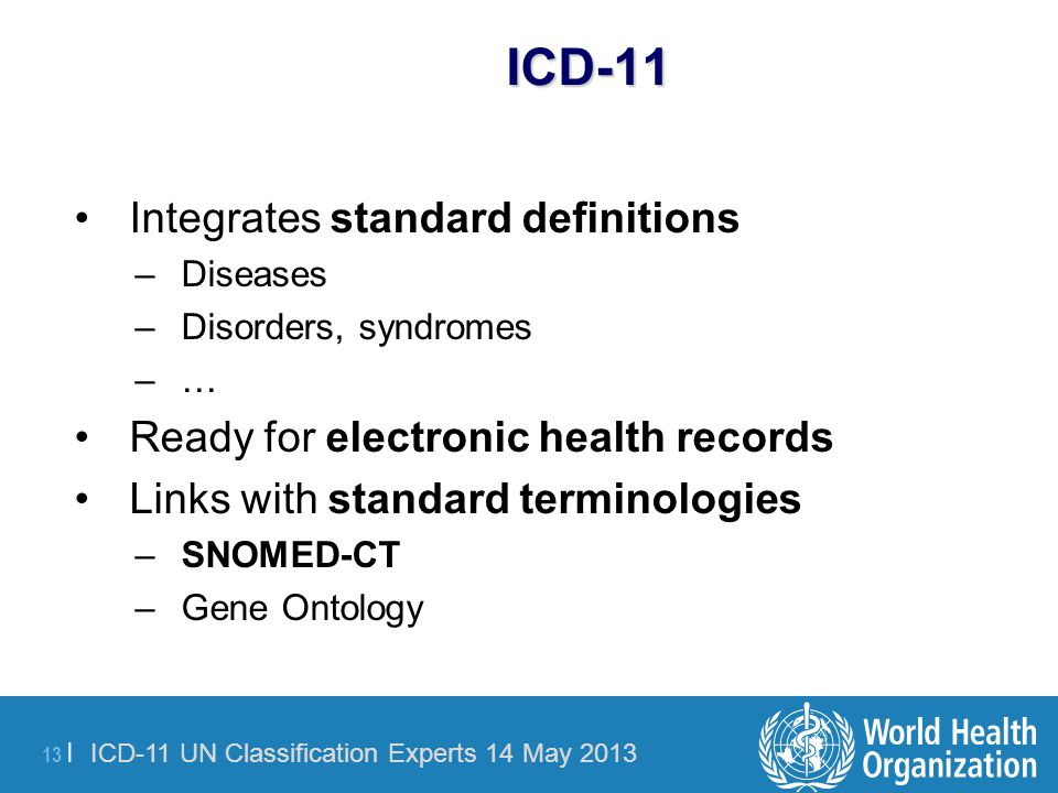 ICD-11 Integrates standard definitions