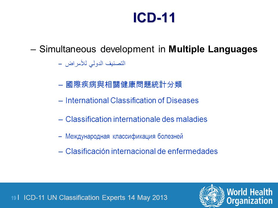 ICD-11 Simultaneous development in Multiple Languages 國際疾病與相關健康問題統計分類