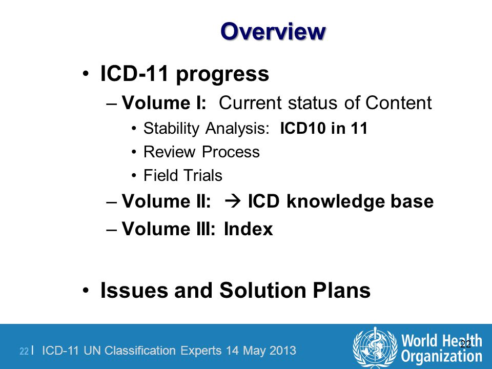 Overview ICD-11 progress Issues and Solution Plans