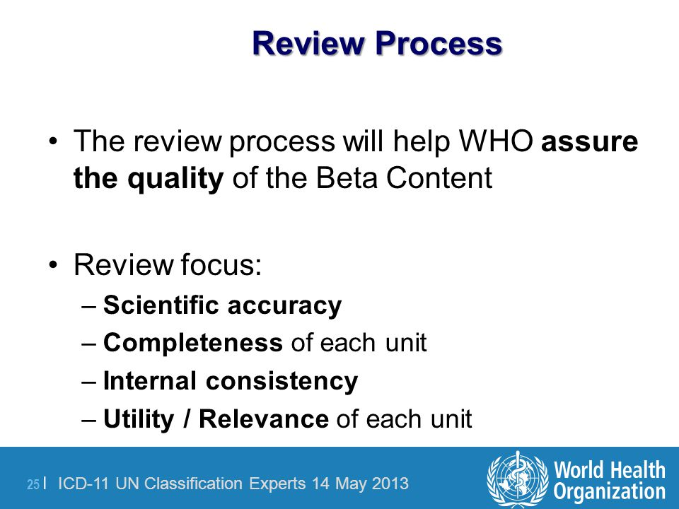 Review Process The review process will help WHO assure the quality of the Beta Content. Review focus: