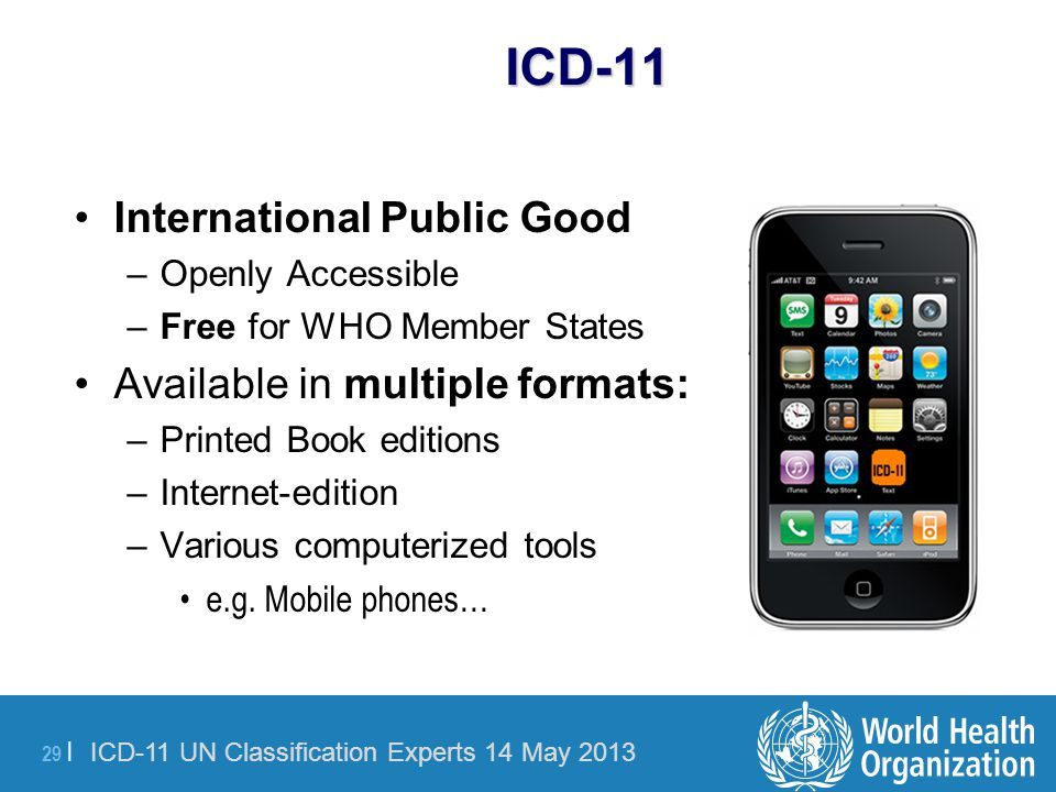 ICD-11 International Public Good Available in multiple formats: