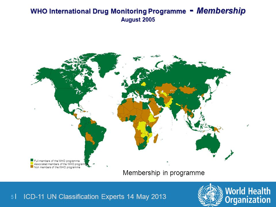 WHO International Drug Monitoring Programme - Membership August 2005