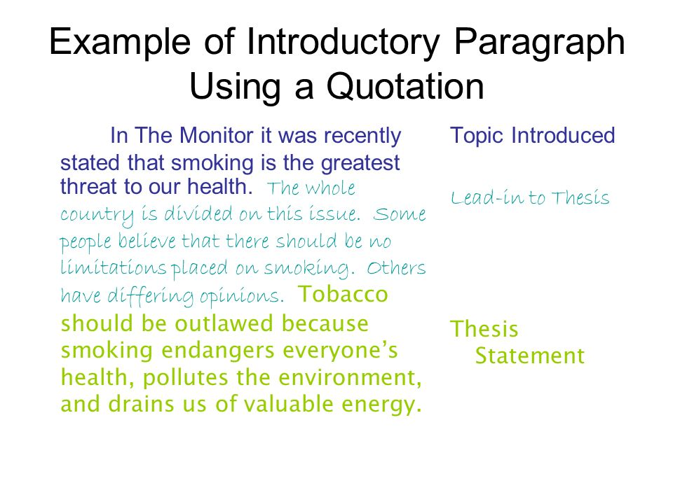 Example of Introductory Paragraph Using a Quotation