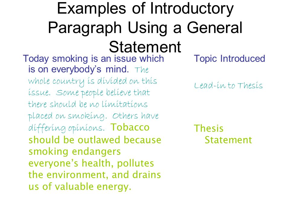 Examples of Introductory Paragraph Using a General Statement