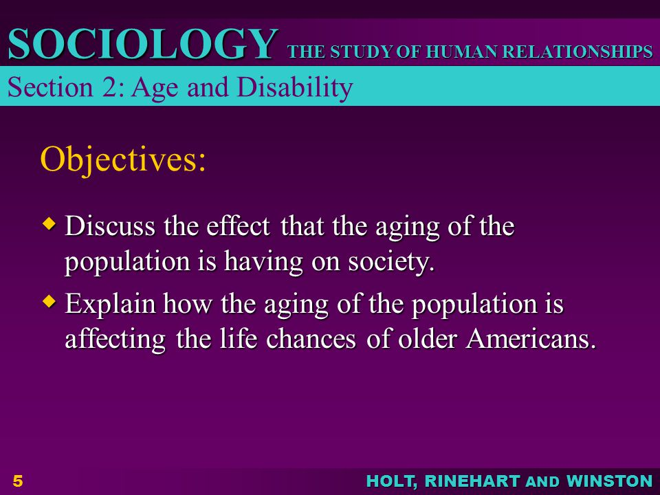 Objectives: Section 2: Age and Disability