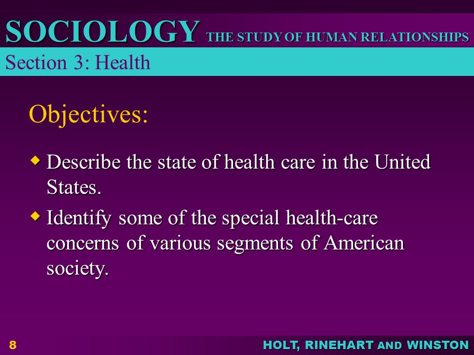 Objectives: Section 3: Health