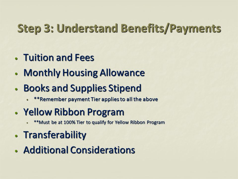 Step 3: Understand Benefits/Payments