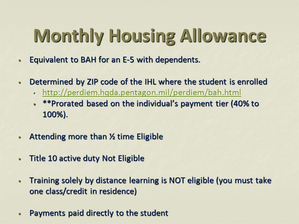 Monthly Housing Allowance