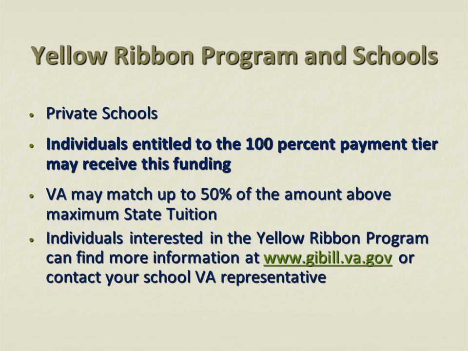 Yellow Ribbon Program and Schools