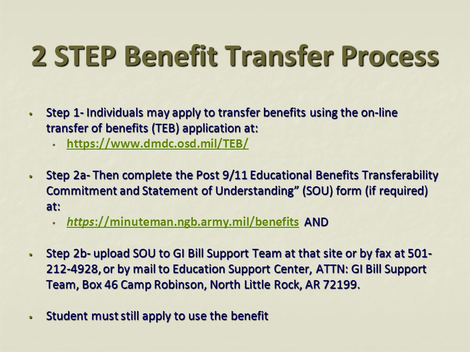 2 STEP Benefit Transfer Process