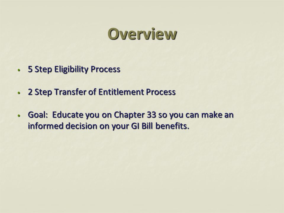 Overview 5 Step Eligibility Process