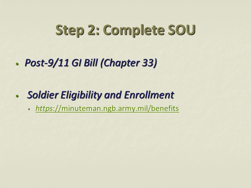Step 2: Complete SOU Post-9/11 GI Bill (Chapter 33)
