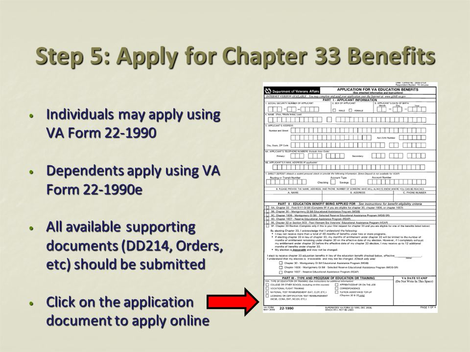 Step 5: Apply for Chapter 33 Benefits