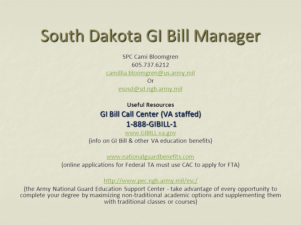 South Dakota GI Bill Manager