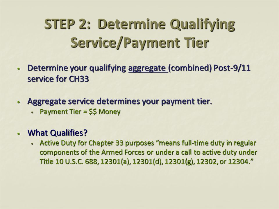 STEP 2: Determine Qualifying Service/Payment Tier