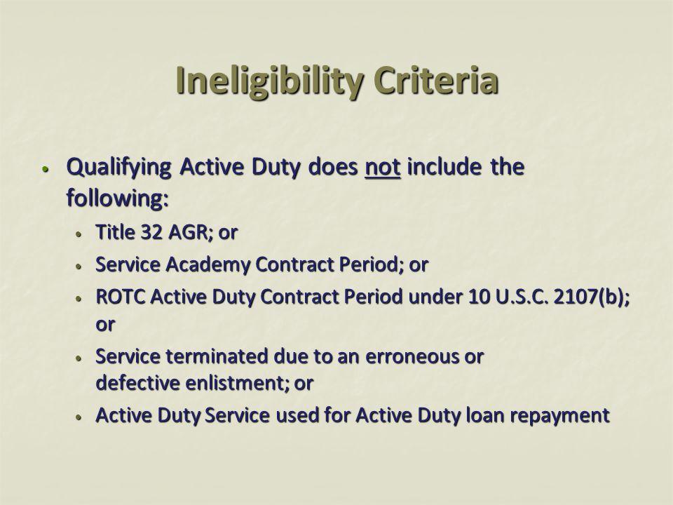 Ineligibility Criteria